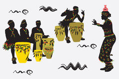 African Musicians. Dance and play the drums vector illustration