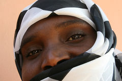 African muslim woman. With a black and white veil Royalty Free Stock Photos