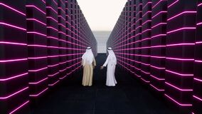 African Muslim at work Arabs scientists Modern datacenter big Data concept