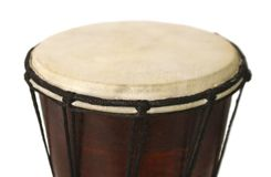 African drum. African National drum closeup on white background Royalty Free Stock Photos