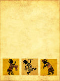 African national patterns. Dancing musicians. African national patterns Royalty Free Stock Image