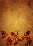 African national patterns. Dancing musicians. African national patterns Royalty Free Stock Photography