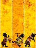 African national patterns. Dancing musicians. African traditional patterns Royalty Free Stock Photos