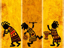 African national patterns. Dancing musicians. African traditional patterns Stock Images