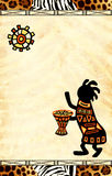 African national patterns. Dancing musicians. African traditional patterns Stock Photography