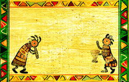 African national patterns. Dancing musician. Grunge background with African traditional patterns Stock Photos