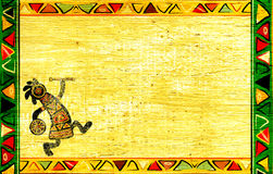African national patterns. Dancing musician. Grunge background with African traditional patterns Stock Photography