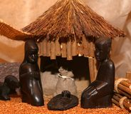 African Nativity scene with Holy Family Royalty Free Stock Photos
