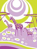 African nature of the savannah with animal giraffes. Near the watering hole. Vector illustration cartoon Stock Photos