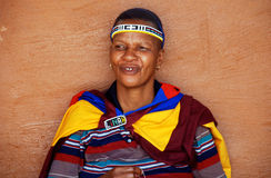 African ndebele woman, South Africa. LESEDI CULTURAL VILLAGE, SOUTH AFRICA - JAN 1: African ndebele woman wearing handmade clothing on January 1, 2008 at the Royalty Free Stock Image