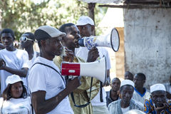 African NGO activists delivering a public lesson Royalty Free Stock Photo