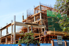 African Office Building Under Construction. A downtown office building under construction in Kigali, Rwanda stock images