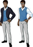 African office clerk in casual formal wear. Office clerk of African ethnicity in casual formal wear for office vector isolated illustrations variation set Stock Photos