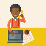 African Office man sitting at his working desk Royalty Free Stock Photos