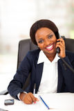 African office worker phone Stock Photo