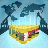 African Oil Power. Oil barrels with the flags of African countries on the world map with oil derricks and growth chart stock illustration