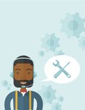 African operator with headset as customer service Stock Images