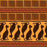 African ornament seamless pattern with cats Royalty Free Stock Image