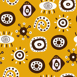 African ornament on yellow background Stock Photography