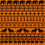 African ornaments with African animals and women Royalty Free Stock Photography