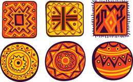 African ornaments. Set of African color ornaments Royalty Free Stock Photos