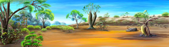 African  Panorama in a Sunny Day. Panorama of African Savannah in a Hot Summer Day. Digital Painting Background, Illustration in cartoon style character Royalty Free Stock Image