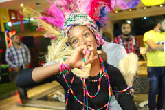 African party. Oct., 2014 African Dancer , in colorful costumes,  perform on stage during the African Show event at Cairo Festival Egypt Stock Photos