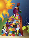 African patchwork lady. An african lady walking towards her home wearing a colourful detailed patchwork skirt and her baby on her back with the african sun Royalty Free Stock Image