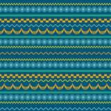 African pattern design in rows. Of blue with yellow and orange using different patterns for each row. Can be used for fabric and textile prints vector illustration
