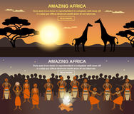 African People Banners Set. African people horizontal banners set with amazing Africa symbols flat  vector illustration Royalty Free Stock Photo