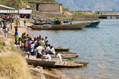 African people in boats stock photo