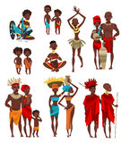 African  People Clothing Flat Icons Collection Royalty Free Stock Photos
