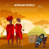 African People And Culture Flat Poster. African ethnic tribal customs rituals and culture flat natural background poster with traditional ceremonial mask vector vector illustration