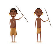 African people. Indigenous south American. Cartoon vector illustration. Royalty Free Stock Image