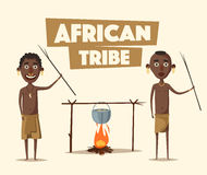 African people. Indigenous south American. Cartoon vector illustration. Stock Photo
