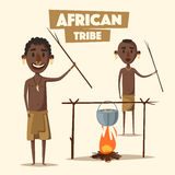 African people. Indigenous south American. Cartoon vector illustration. Stock Images