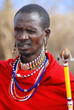 African people from Masai tribe. AMBOSELI, KENYA - OCT 13: Unidentified African people from Masai tribe prepare to show a traditional Jump dance on Oct 13, 2011 Stock Photography