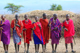African people from Masai tribe. AMBOSELI, KENYA - OCT 13: Unidentified African people from Masai tribe prepare to show a traditional Jump dance on Oct 13, 2011 Royalty Free Stock Photo