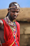African people from Masai tribe. AMBOSELI, KENYA - OCT 13: Unidentified African people from Masai tribe prepare to show a traditional Jump dance on Oct 13, 2011 Stock Photo
