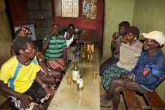 African people is drinking Stock Photo