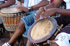 African Percussion. Traditional music in the street royalty free stock photo