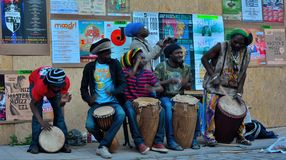 African percussion band playing at festival, street performance Royalty Free Stock Image