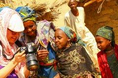 African Village Children. African children caucasian remote village Stock Photo