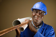 African Plumber Worker stock photo