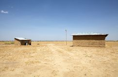 African police station. Outpost of the ethiopian police station with ethiopian flag along the road to the Turkana lake, Ethiopia, near the border with Kenya royalty free stock photography