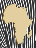 African poster with zebra pattern and map Stock Photo