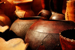 African pots for sale at a market in South Africa. Hand-crafted pots for sale at a market in Howick, South Africa Royalty Free Stock Photos