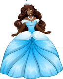 African Princess In Blue Dress. Vector illustration of a beautiful african princess in blue dress stock illustration