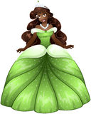 African Princess In Green Dress Royalty Free Stock Photos