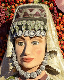 Rose Parade African Princess. Image of an element of the Cradle of Civilization Float taken during the 2015 Rose Parade.  Illustrates the floral work the won the Royalty Free Stock Photography